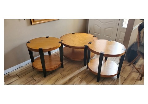 Living room sofa table with two end tables